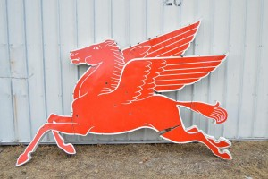 Large Original Mobil Pegasus Cookie Cutter Gas Sign