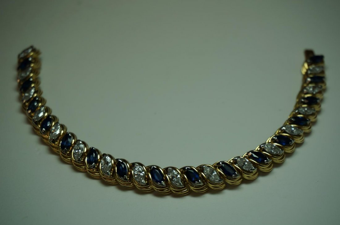18K Yellow Gold & Platinum Genuine Sapphire & Diamond Bracelet