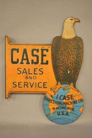 Rare Case Tractor Sales and Service Flange Sign